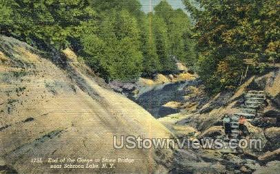 Gorge & Stone Bridge - Schroon Lake, New York NY Postcard