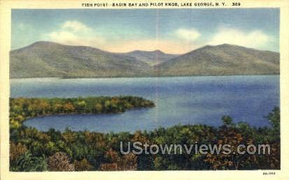Basin Bay & Pilot Knob - Lake George, New York NY Postcard