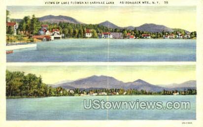 Lake Flower - Adirondack Mts, New York NY Postcard