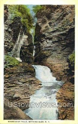 Minnehaha Falls - Watkins Glen, New York NY Postcard
