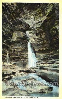 Central Cascade - Watkins Glen, New York NY Postcard