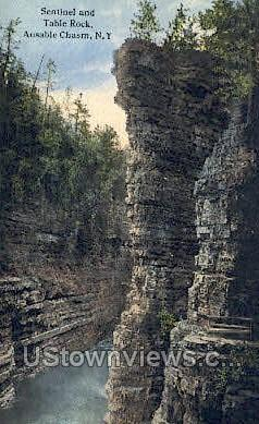 Sentinel & Table Rock - Ausable Chasm, New York NY Postcard