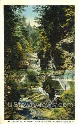 Triple Cascades - Watkins Glen, New York NY Postcard