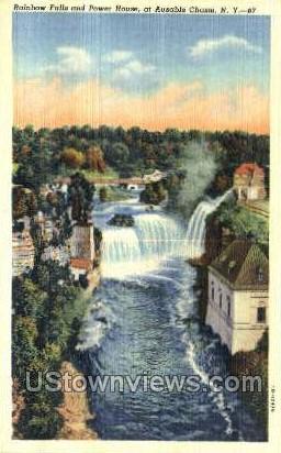 Rainbow Falls - Ausable Chasm, New York NY Postcard