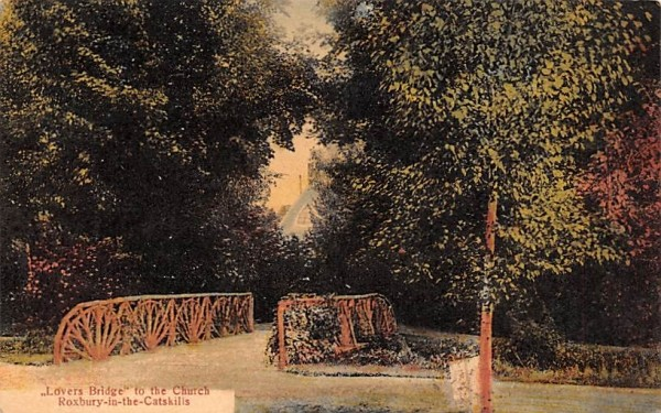 Lovers Bridge to the Church Roxbury, New York Postcard
