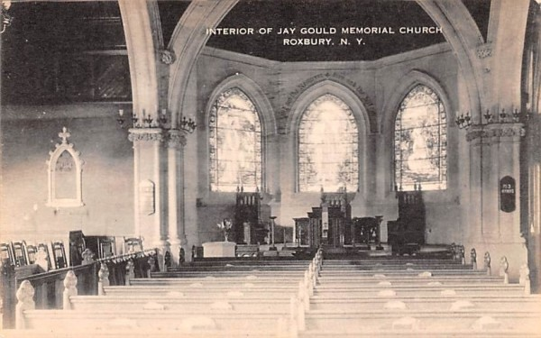 Interior of Jay Gould Memorial Church Roxbury, New York Postcard