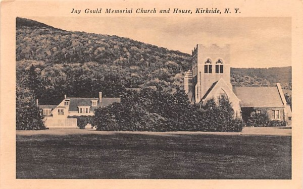 Jay Gould Memorial Church & House Roxbury, New York Postcard