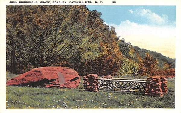 John Burroughs' Grave Roxbury, New York Postcard