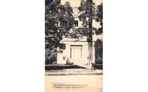 ME Church Showing Town Clock Roxbury, New York Postcard
