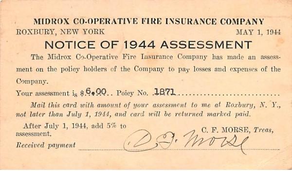 Midrox Co-Operative Fire Insurance Company Roxbury, New York Postcard