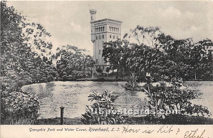 Graneble Park & Water Tower - Riverhead, New York NY Postcard
