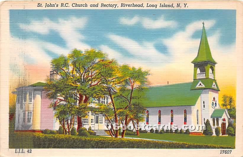 St John's RC Church & Rectory - Riverhead, New York NY Postcard