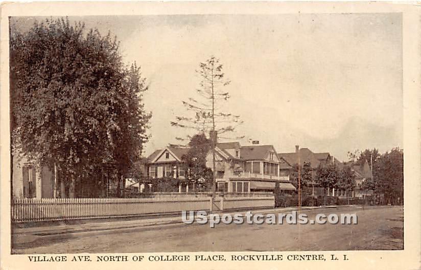 Village Avenue, College Place - Rockville Centre, New York NY Postcard