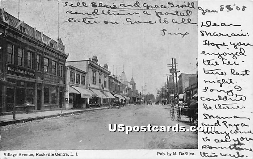 Village Avenue - Rockville Centre, New York NY Postcard