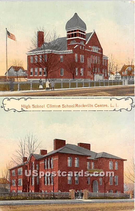 High School Clinton School - Rockville Centre, New York NY Postcard
