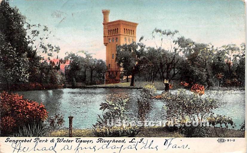 Gangrebel Park & Water Tower - Riverhead, New York NY Postcard