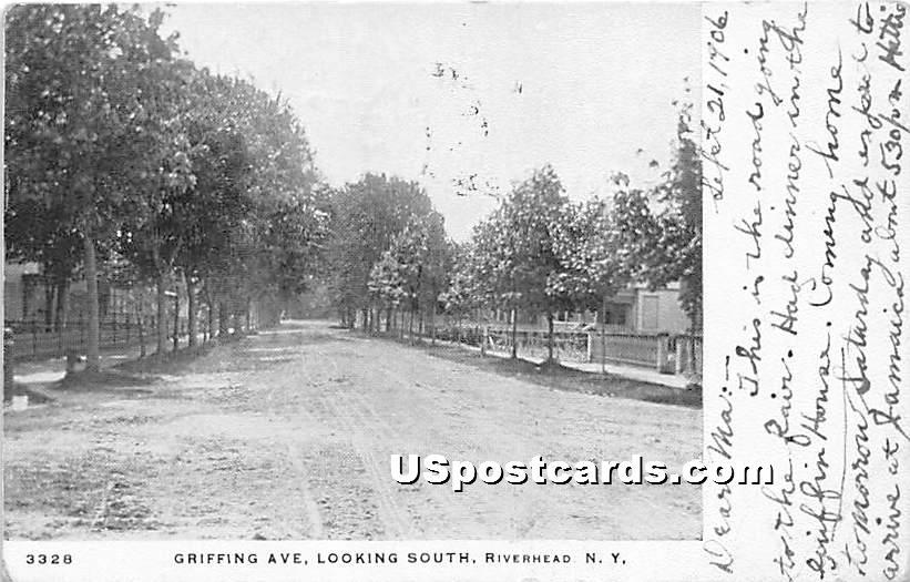 Griffing Avenue - Riverhead, New York NY Postcard