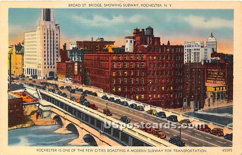 Broad Street Bridge - Rochester, New York NY Postcard