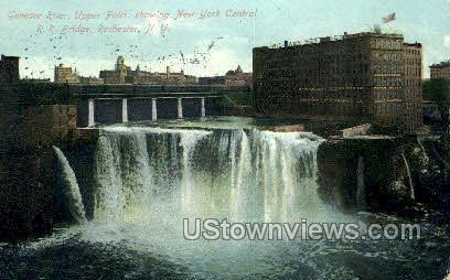 Genesee River, Upper Falls - Rochester, New York NY Postcard