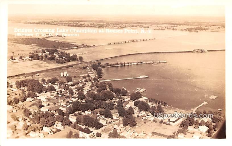 Bridges Crossing Lake Champlain - Rouses Point, New York NY Postcard