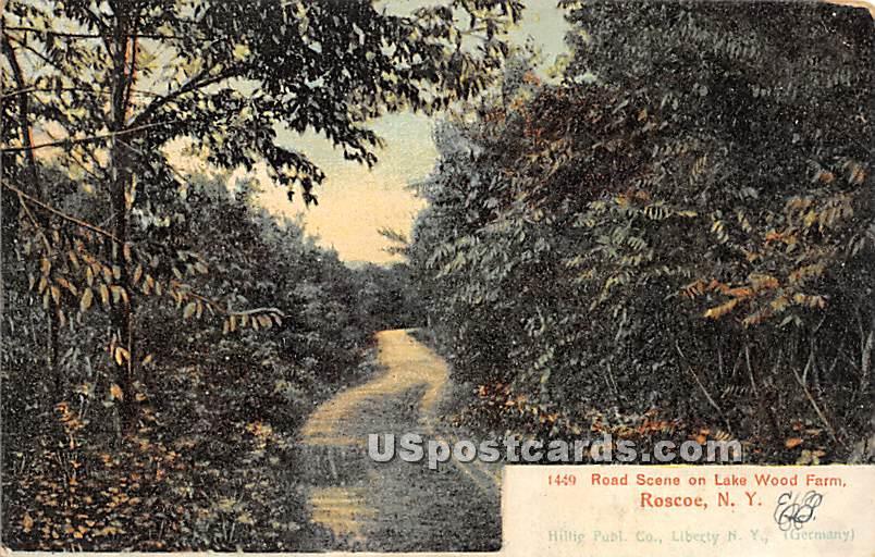 Road Scene on Lake Wood Farm - Roscoe, New York NY Postcard