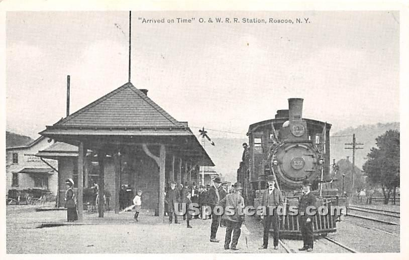 Arrived on Time - Roscoe, New York NY Postcard
