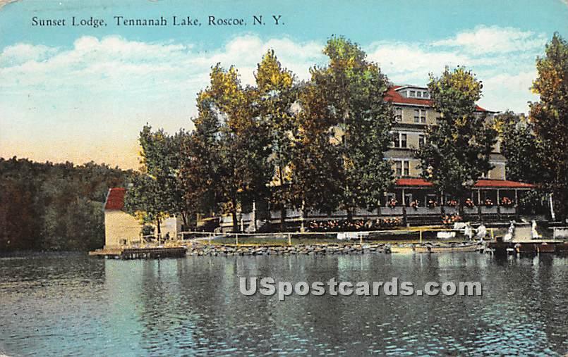 Sunset Lodge - Roscoe, New York NY Postcard