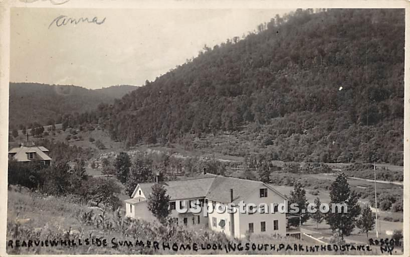 Rear View Hill side Summer Home - Roscoe, New York NY Postcard