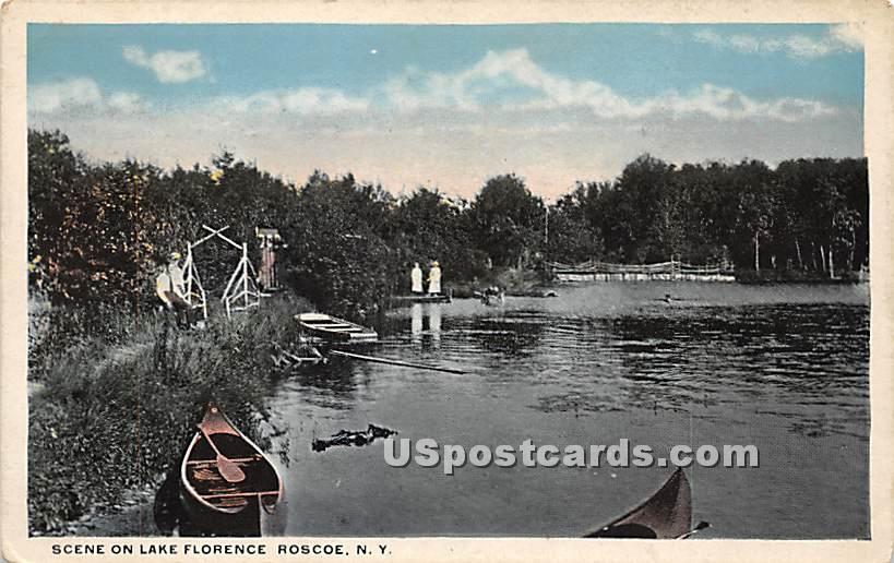 Scene o Lake Florence - Roscoe, New York NY Postcard