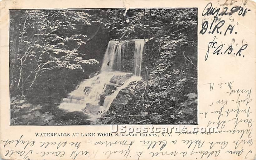 Waterfalls at Lake Wood - Roscoe, New York NY Postcard