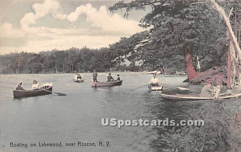 Boating on Lakewood - Roscoe, New York NY Postcard