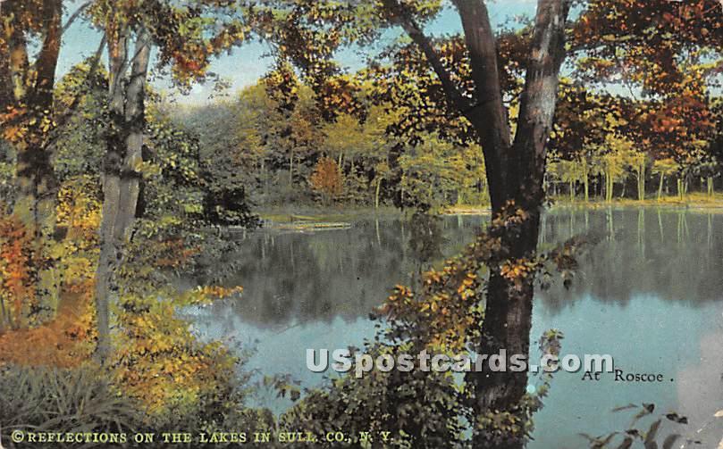 Reflections on the Lakes - Roscoe, New York NY Postcard