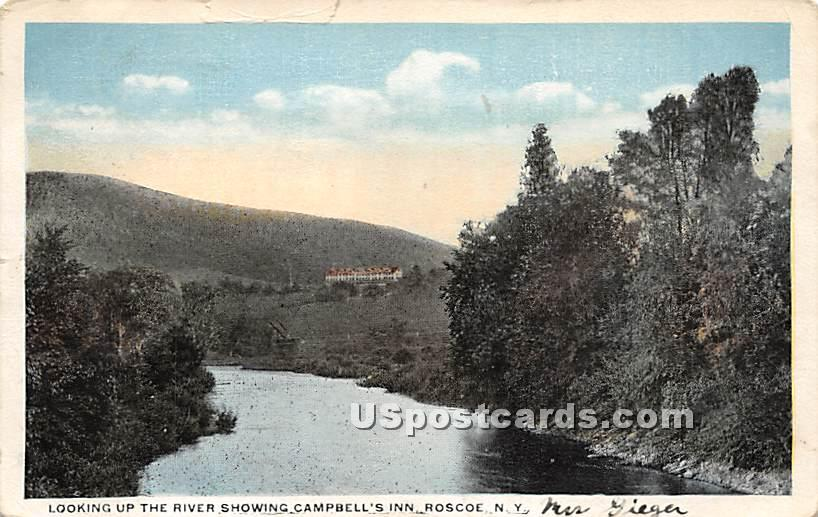 Looking up the River showing Campbell's Inn - Roscoe, New York NY Postcard