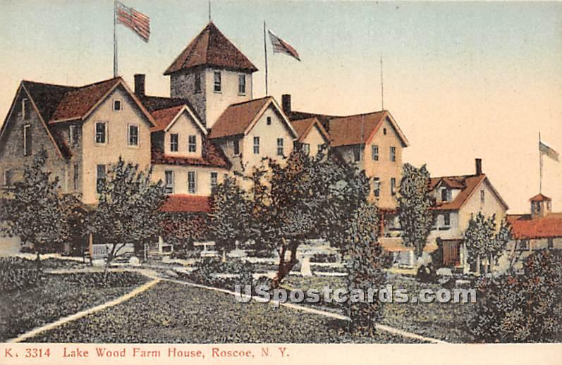 Lake Wood Farm House - Roscoe, New York NY Postcard