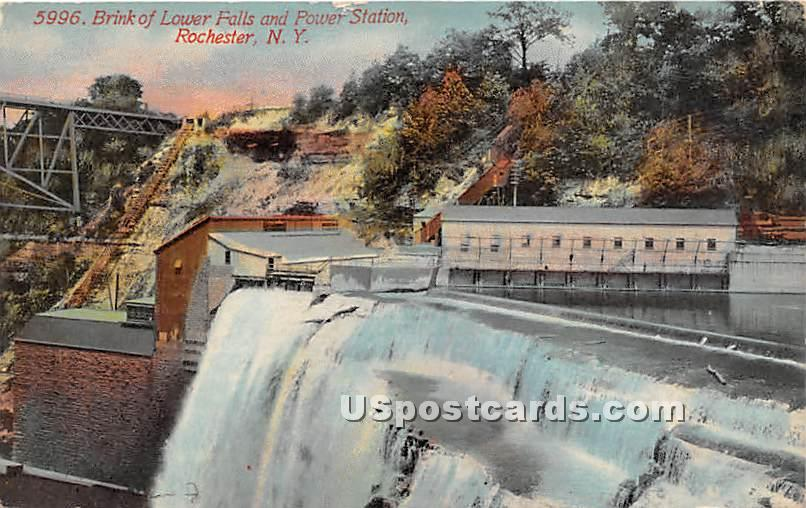 Brink of Lower Falls, Power Station - Rochester, New York NY Postcard