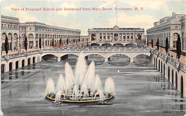 Proposed Station & Boulevard Rochester, New York Postcard