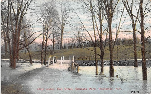 High Water, Red Creek Rochester, New York Postcard