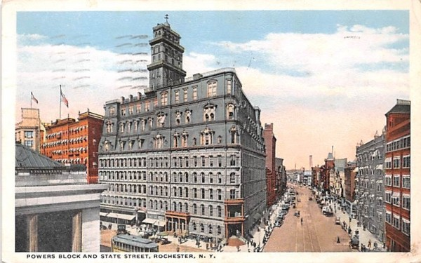 Powers Block & State Street Rochester, New York Postcard
