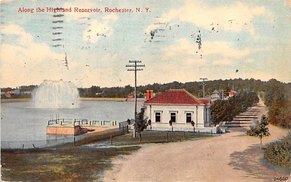 Along the Highland Reservoir Rochester, New York Postcard