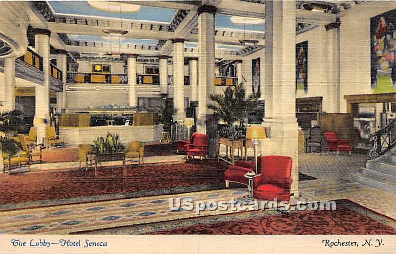 The Lobby, Hotel Seneca - Rochester, New York NY Postcard