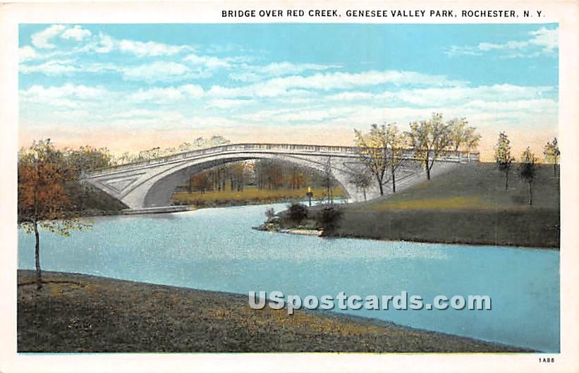 Bridge Over Red Creek, Genesee Valley Park - Rochester, New York NY Postcard