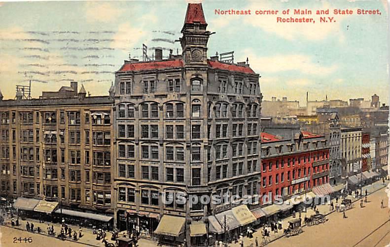 Main & State Street - Rochester, New York NY Postcard