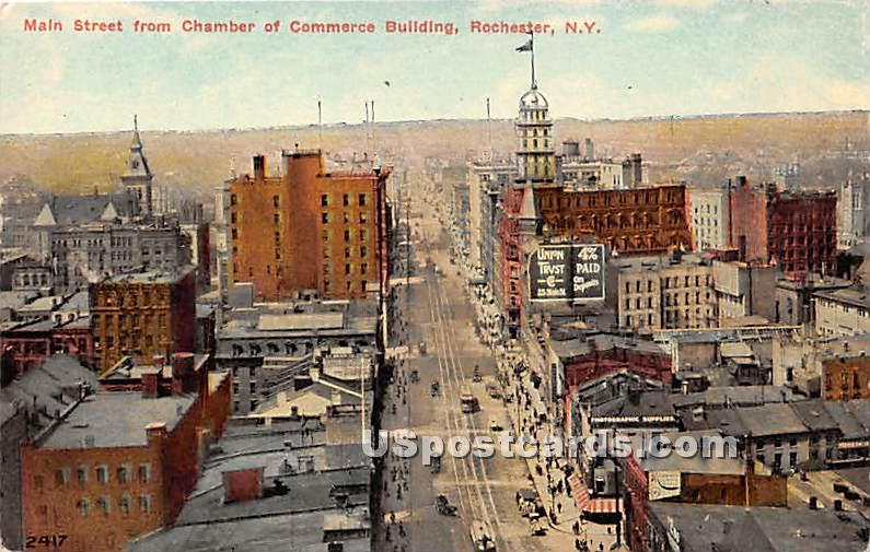Main Street, Commerce Building - Rochester, New York NY Postcard
