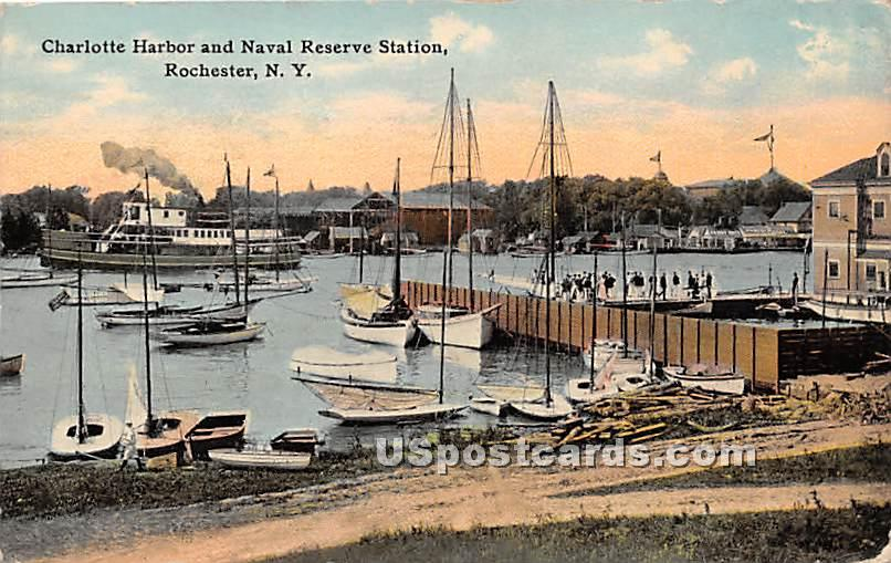 Charlotte Harbor & Naval Reserve Station - Rochester, New York NY Postcard
