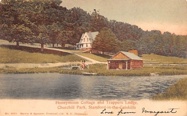 Honeymoon Cottage & Trappers Lodge Stamford, New York Postcard