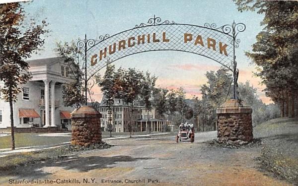 Entrance to Churchill Park Stamford, New York Postcard