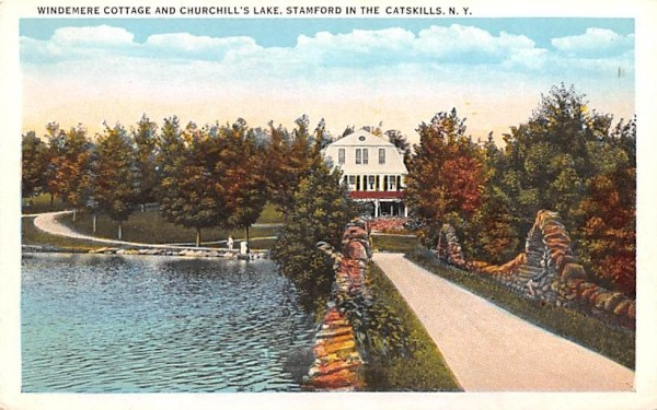 Windemere Cottage & Churchill's Lake Stamford, New York Postcard