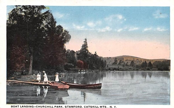 Boat Landing, Churchill Park Stamford, New York Postcard