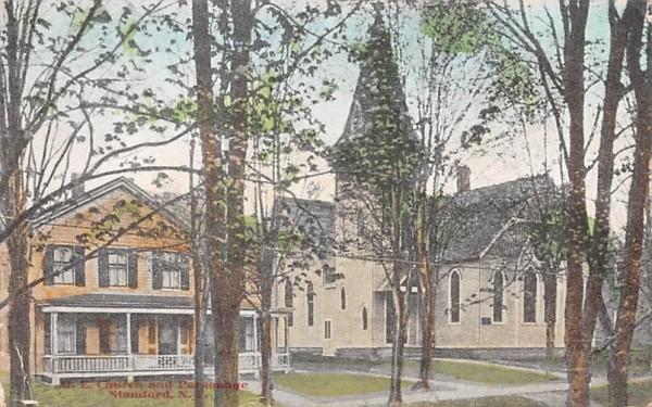 ME Church & Parsonage Stamford, New York Postcard