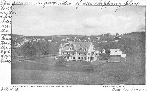 Kendall Place & Some of the Hotels Stamford, New York Postcard